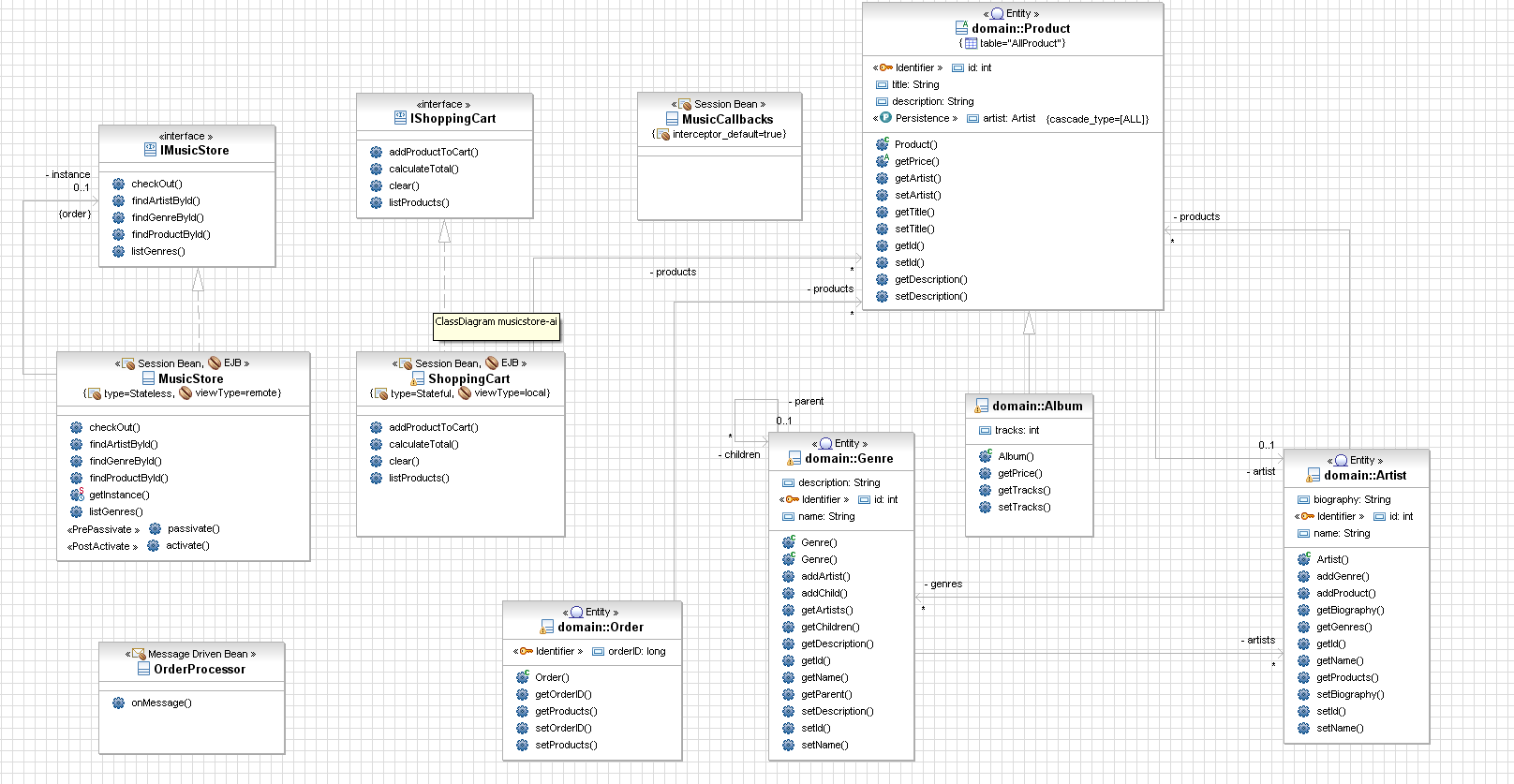 Eclipse omondo the live uml company jee reverse ejb3 you can reverse your existing ejb 3 project and display the information in your class diagram ccuart Images